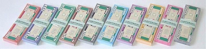 Spielgeld Poker Game Dollars bunt banderoliert