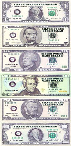 poker dollars silver einzelne dollarscheine spielgeld geschenke von buntebank reproduktionen. Black Bedroom Furniture Sets. Home Design Ideas