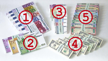 Geldschein-Formate von vorrätig lieferbarem BUNTEBANK Spielgeld